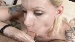 Dirty blonde sucks a dick like it's her last one