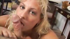 Girlfriend plays with his cock using her tongue