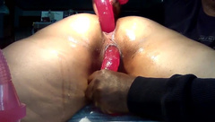She so Young taking a Dildo in her Tight Asshole and Pussy at the same Time