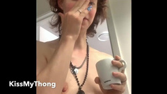 Sweet Dorky Wife Shows Off, Showers, Shaves, and Fingers herself