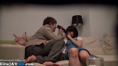 Japanese couple having passionate sex at home
