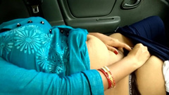 Cute StepSister Show Big Boobs Fucking Pussy in Car Outdoor