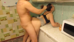Neighbor Roughly Fucked in the Kitchen a Teen Girl
