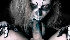 Horror Porn. Skeleton Female gives Blowjob and Jerks off to Man
