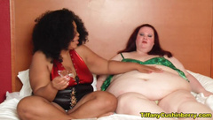 Weight Gain Feedee gets Fed by her Sexy BBW Feeder Girlfriend in Bed