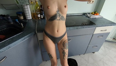 Kitchen Quickie with 18 Years old Girl POV