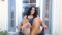 MATURE MOM Rips Bong outside with Boob Play