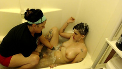 CFNF Washing Lather Young Dyke & MILF both get Soaked & Cum