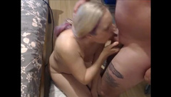 Mom Deepthroats her Son Cock then Rides him and makes him Cum in her