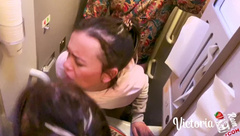 Sexy Teen Public Blowjob and Doggy Sex in Train!