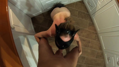 Pussy with Tail Sucks in the Kitchen and gets A Dick