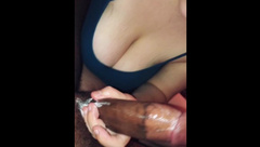 Busty GF gives Sloppy BJ makes him Cum all over Pierced Tits