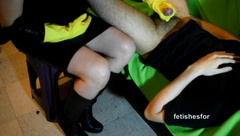 MILF Handjob, Rubber Gloves, Leather Skirt, Leather Boots, Dick Tease