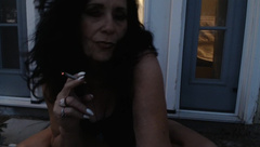 MATURE MOM Lets off Stinky Farts and Smokes outside