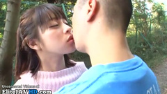Japanese 18yo schoolgirl gives blowjob outdoor