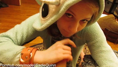 Sadie Quinn: Onesie Blowjob--A welcome Workplace Distraction