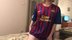 Teen Blond Football Girl Suсks Dick and gets Fuck Doggystyle
