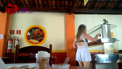 Slutwife doing Exhibitionism in a Restaurant with her Cuckold Husband
