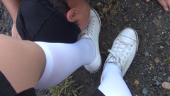 Schoolgirl Femdome Slave Lick Kiss Shoes and Sniff Feet Worship Foot Fetish