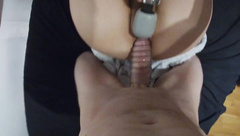 Pussy Stretching with Cock Sleeve and Dildo, + Vibrator