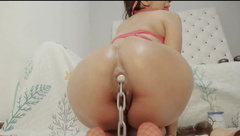 Latina Stuffing A Metal Chain In Her Ass