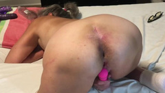 Hot MILF Spreads her Ass Doggy Style and Vibes Wet Pussy