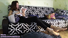 FOOTSTOOL SLAVE Nina Yo Ignores her Feet Slave. Everyday Routine P3