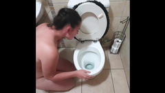 Chubby Teen Licking Toilet Clean and Gets Pissed on with Spit and Slap