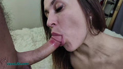 Beautiful Girl Passionate Sucking Hard Cock Lover - Cum in Mouth