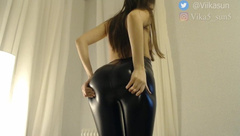 Fuck my Ass in Tight Black Leggings