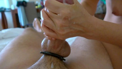 Big Cock Gets a Rough Handjob from a MILF + Cockring