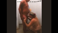 Mom Joins Stepson in the Shower and Let's him Cum in her Mouth