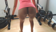 Hot Ebony Teen in the Gym, Black Fitness Model Exercise and Fucking