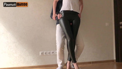 Tightjob Wet looking Leather Pants and High Heel Cum on Leather Pants