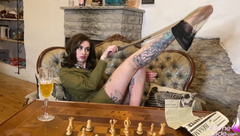 Military Girl Lost Chess Deep Blowjob and Anal Sex - Cosplay