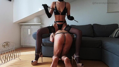 Femdom BDSM Session - Hard Caning and Ass Pegging the Slave on High-heels