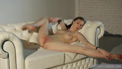 White Sofa. Erotic Composition with a Charming Incredibly Flexible Dancer.