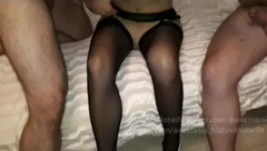The Wife in Stockings was Fucked by three Guys in Turn and Finished on the