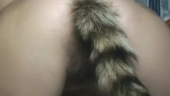 Squirrel Tail Toy Plug in Super Hairy MILF Pussy Doggy Style
