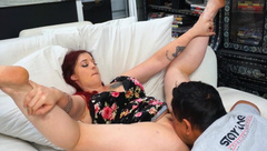 Hairy BBW Ginger is Horny for Cunnilingus