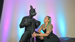 Femdom Mistress Plays with Puppy in BDSM Edging and Denial Handjob