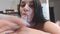 Feet in stockings and blowjob