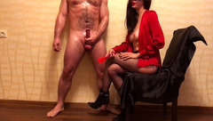 Femdom GAME with BALLBUSTING till Slave Cums from Jerking. this MISTRESS is AWESOME