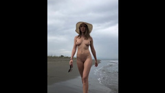 Naked Model on Beach