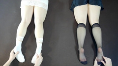 White and Black - what do you Choose? Double Tickle Feet and Legs Massage!