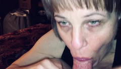 Mature Slobbering and Sucking Cock till it Fills her Mouth with Cum