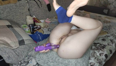 Gigand Dildo Fuck Ass and Pussy. Monster Cock Fuck both Teen Girl Holes.hot Anal train.HotSisterAmmy