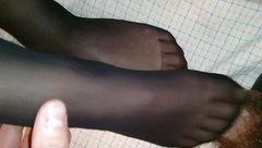 She drained my balls with her black nylon feet