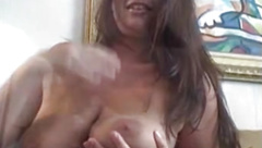 Busty amateur Lesley masturbates after hot interview