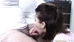 Candy blows my fat cock making me blast a load